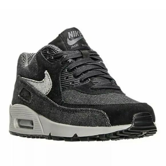 shoes, nike, air max, sneakers, grey denim, grey, denim, air